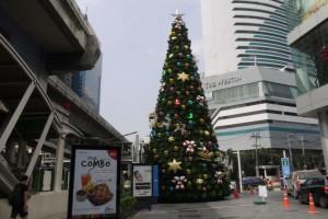 Weihnachtsbäume an der Skytrainstation