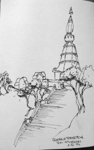 gemalt - Queens Pagoda im Doi Inthanon Nationalpark