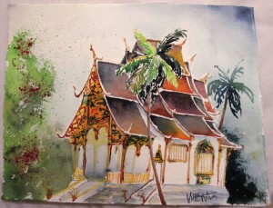 gemalt - Wat in Luang Prabang