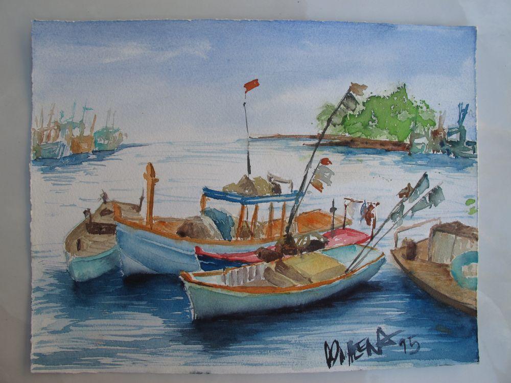 gemalt - Schiffe in DuongDong