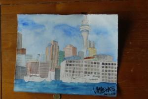 gemalt - Auckland vom Wasser aus